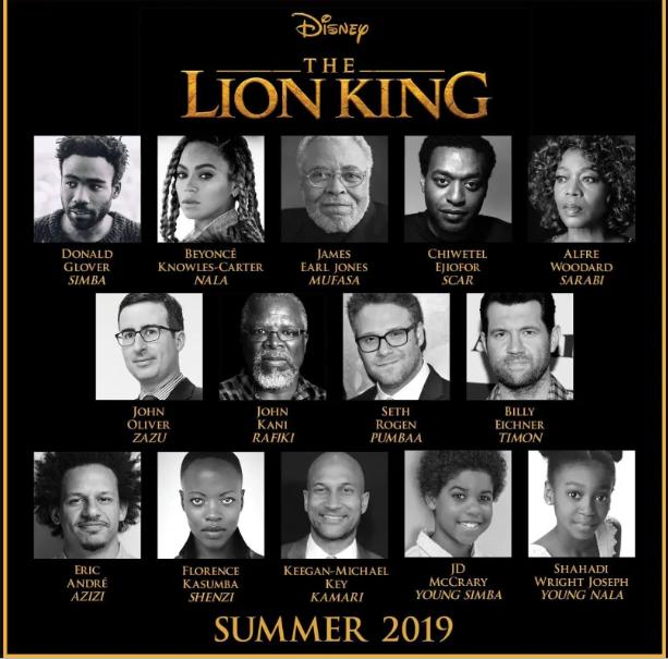 disnep the lion king summer 2019 cast
